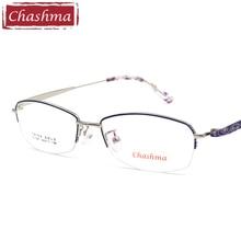 Chashma Brand Designer Prescription Glasses Gafas Mujer Quality Alloy Frames Light Eyeglasses Women Semi Rimmed Occhiali
