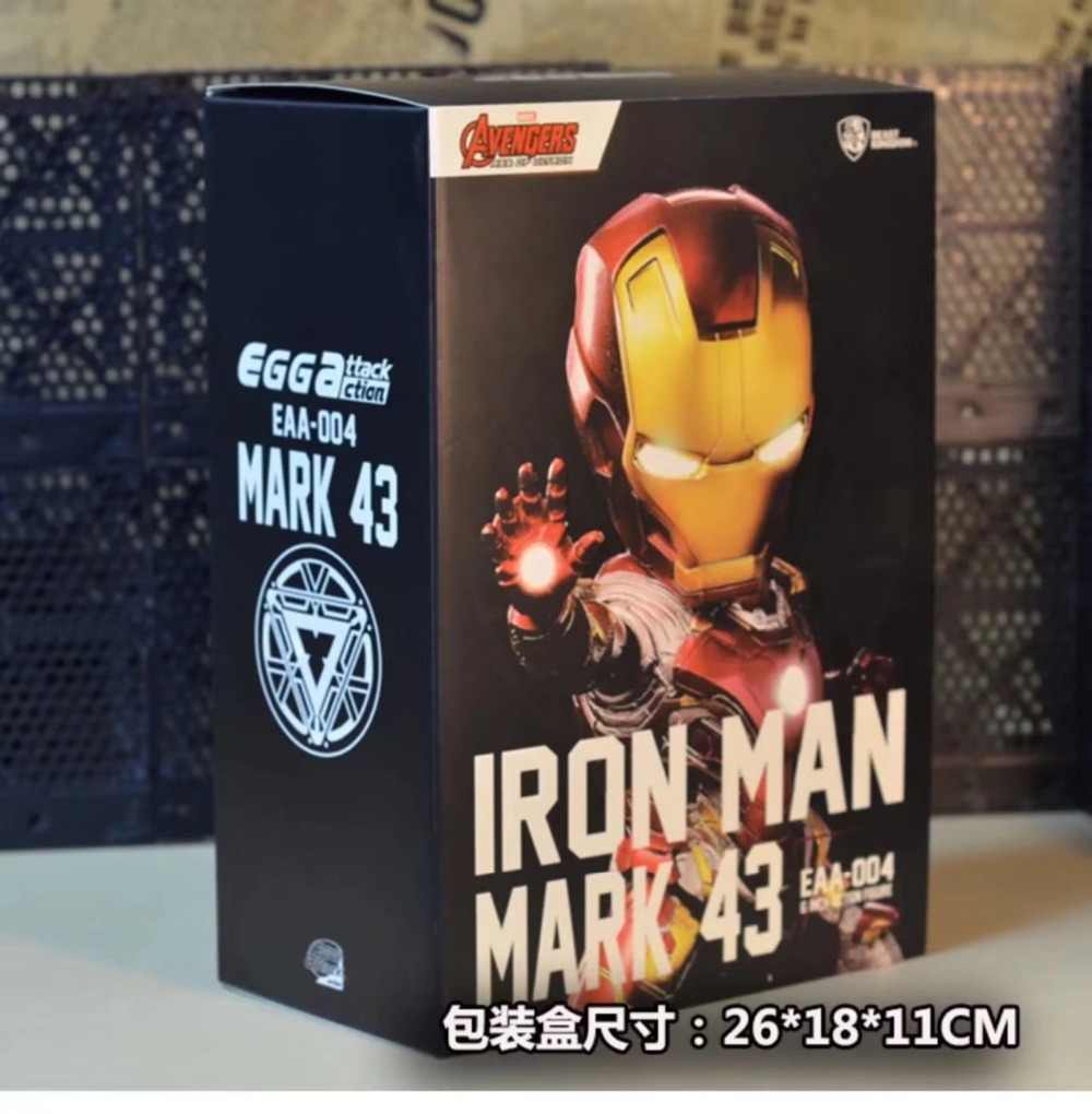 Яйцо атаки супергероя Железный человек MK43 свет и подвижным действие Функция ПВХ фигурки героев Коллекционная модель игрушки куклы 18 см