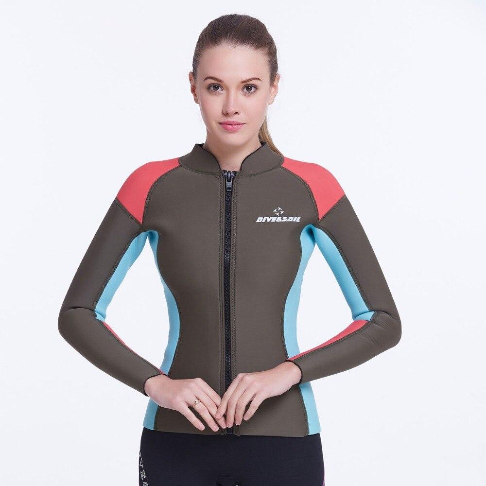 цена 2mm  Ladies Snorkeling Diving Sucba Wet Suit Front Zip Long Sleev Full Zip Jacket Top Cool Top Neoprene Women's Wetsuit Jacket онлайн в 2017 году