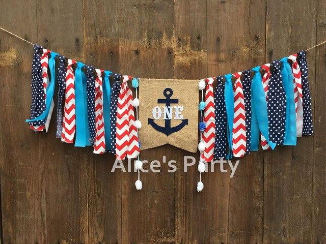 New Blue Sailor Anchor ONE Highchair Banner Boy 1st Birthday Party Garland Baby Shower Decoration Cake
