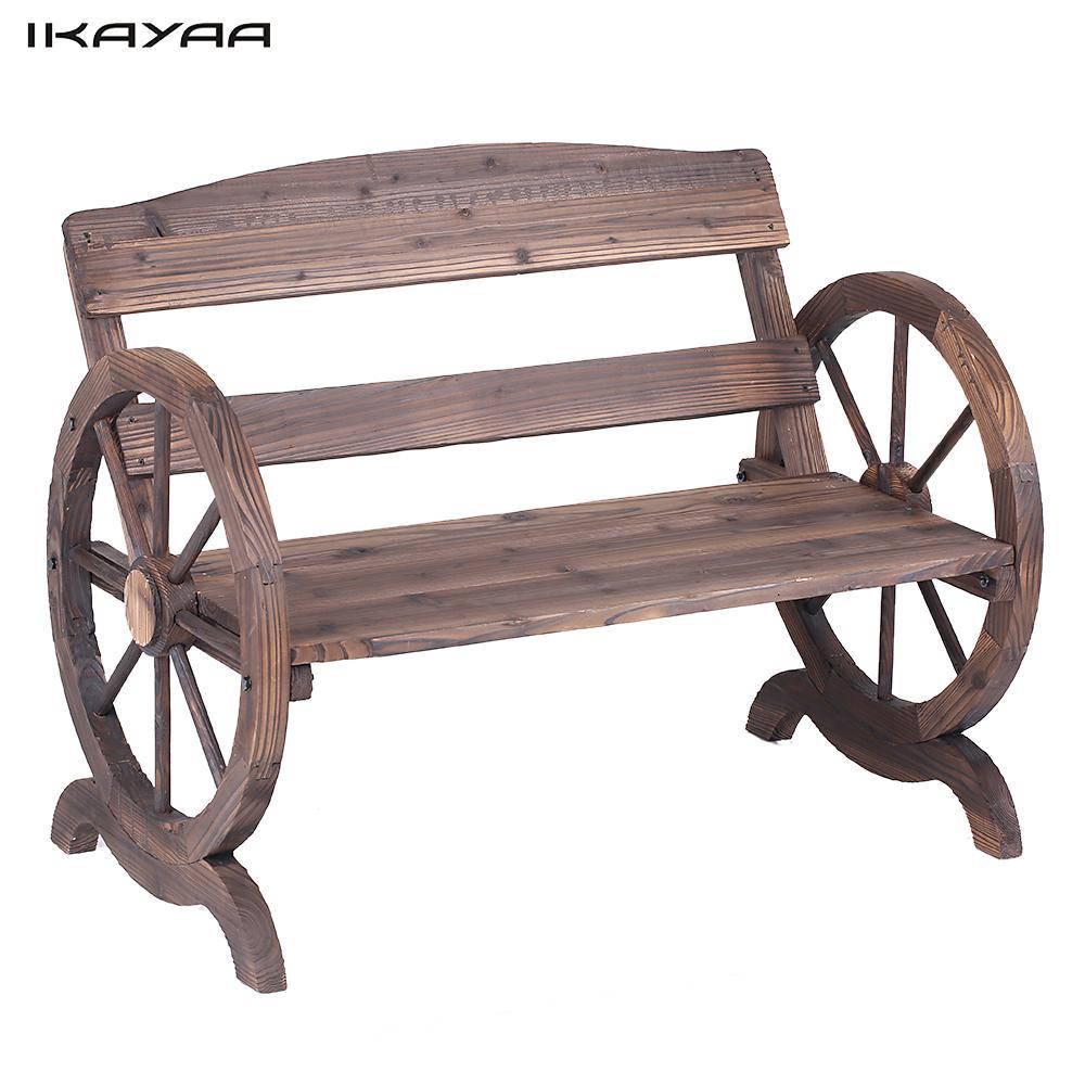 ikayaa plazas banco con respaldo de madera al aire libre rstico rueda de carro estilo