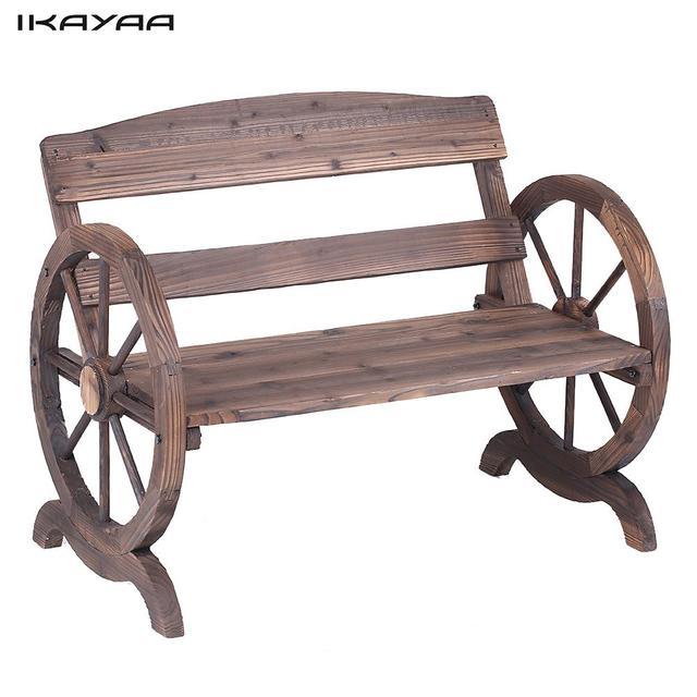IKayaa 2 Sitzer Outdoor Holzbank Mit Rückenlehne Rustikalen Wagenrad Stil  Terrasse Bank Garten Möbel UNS DE
