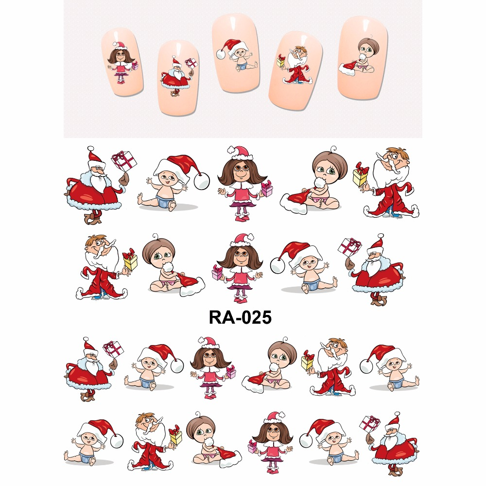 Nail Sticker WATER DECAL SLIDER MERRY CHRISTMAS XMAS SANTA CLAUSE KIDS BOYS AND GIRLS  RA025-030 12 pack lot water decal nail art nail sticker full cover christmas xmas santa clause deer bn229 240