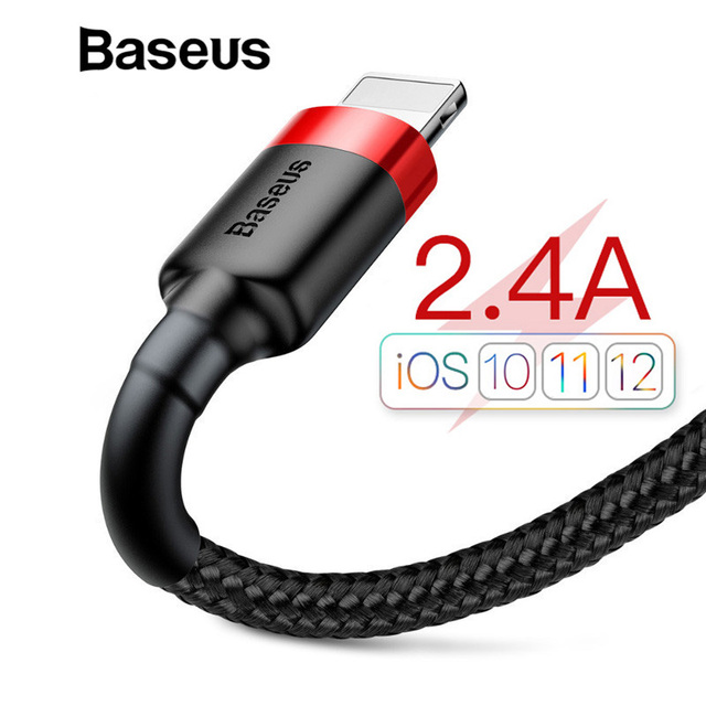 Baseus Classic USB Cable for iPhone xs max Charger USB Data Cable for iPhone X 8 6 6s 2.4A USB Charging Cable Phone Cord Adapter