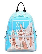 Miwind-F узором rainbow письма печатаются pu мешок, Весна/лето мода новый Baby Blue рюкзаки Дамы Путешествия Красочные Mochila
