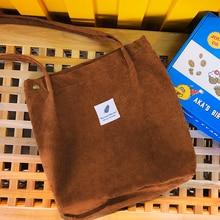 Eco Solid Corduroy Shoulder Bags Environmental Shopping Bag Tote Package Crossbody Purses Casual Handbag For Women
