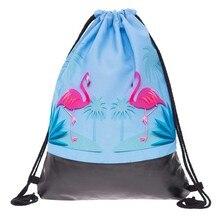 hot deal buy 3d printed flamingo pattern drawstring storage bags shoulder bags women hamburg backpacks travel storage organizer shoes bags