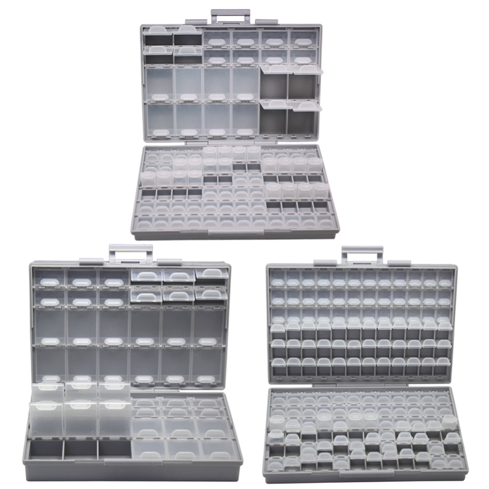 AideTek  Electronics Smd Storage Cases & Organizers SMD SMT Resistor Capacitor Enclosure Plastics Toolbox Whit Box BOXALLCOM3