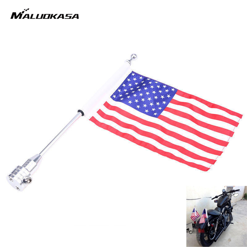 MALUOKASA Car-Styling Chrome Motorcycle Motocross Rear Side Mount Flag Luggage Rack Pole American Flag For Harley Bobber Custom motocycle cnc aluminum rear side mount luggage rack vertical flag pole american for harley touring road king glide
