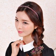 8 Colors Korean Ladies Glitter Imitation Crystal Headband Two Rows Handmade Beading Luxury Hair Hoop Metal Alloy Party Headpiece