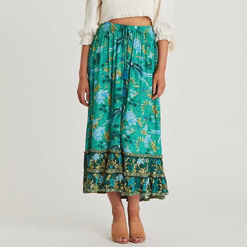 Women Bohemian Skrit 2019 Summer Floral Print Long Skirts Women Elastic Waist Lace Up Tassel Frills Skirt Gypsy Boho Print Skirt in Skirts from Women 39 s Clothing
