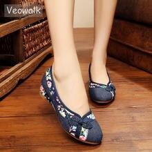 Veowalk Vintage Embroidered Women Pumps Flower Slip On Cotton Fabric Linen  Comfortable Old Peking Ballerina High Heels Shoes 253cf3206e2e
