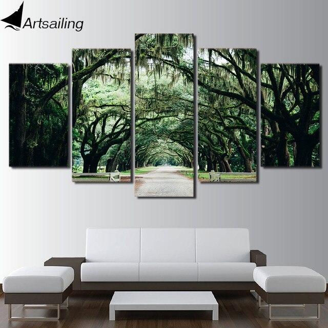 Hd Imprimé 5 Pièces Toile Art Tropical Banyan Arbre Peinture Vert