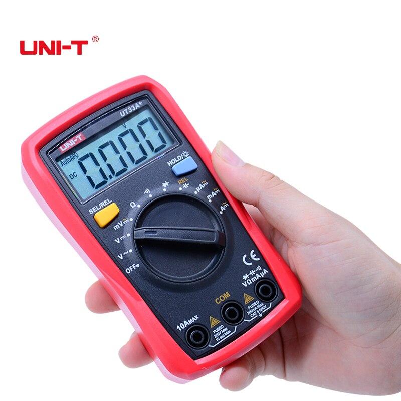 Mégohmmètre Numérique Multimètre UNI-T UT33A + Palm taille Ampèremètre Multimètre gamme automatique Multimètre Numérique DC/AC Résistance