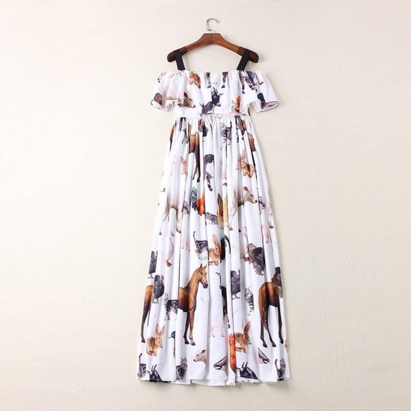Estampado De Las Diseño Elegante Calidad 2019 Animal Correa Vestido Moda Nuevo Largo Alta Mujeres rxqf0XZqvw