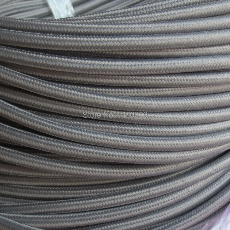 10 meters Grey 2 core 0.75mm2 Textile Electrical Wire Color Braided ...
