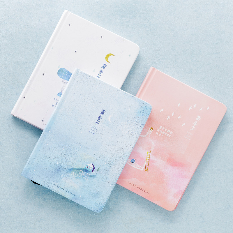 Blue House Hard Cover Cute Sketchbook Beautiful Diary Blank Freenote Student Notebook Stationery Gift
