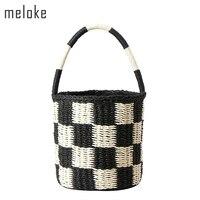 Meloke 2017 hecho a mano de las mujeres bucket el mini bolsos de paja natural para niñas de playa del verano del envío de la gota MN848
