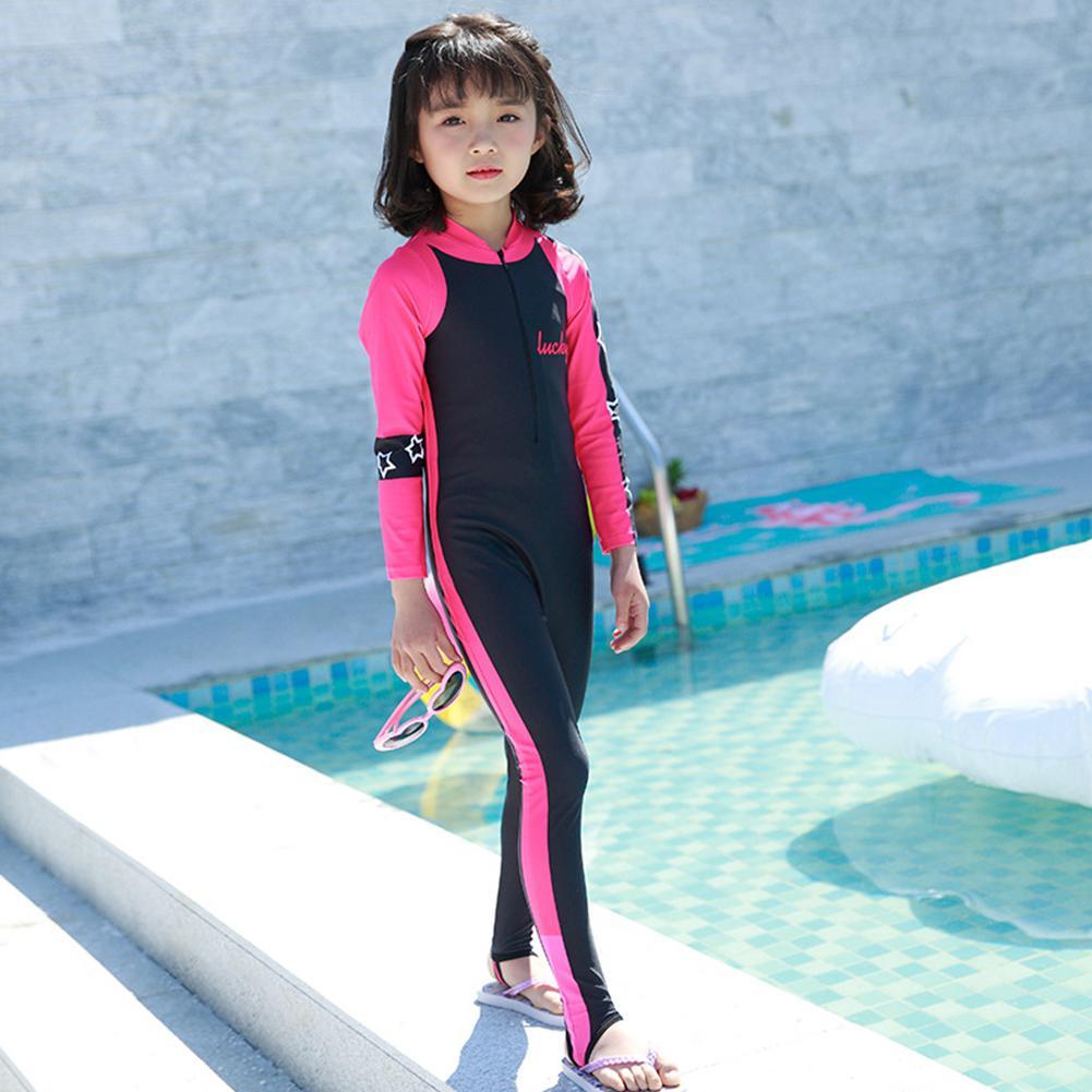 Dragonpad Kids Girls Boys Sunscreen Quick Dry Long Sleeve Diving Suit Muslim Swimwear UV Sun Protective Rash Guards Swimsuit