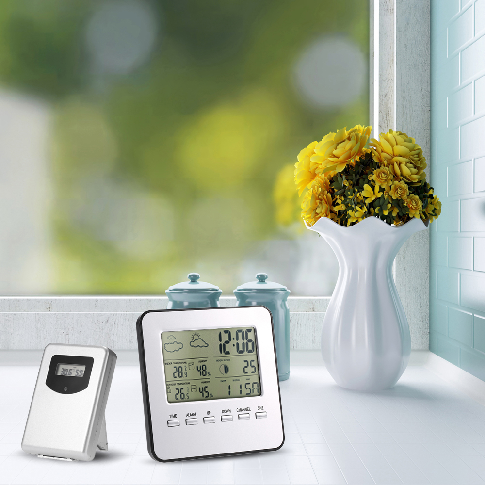 Digital Wireless Thermometer Hygrometer Multi-functional LCD Weather Station Clock Calendar Alarm Moon Phase Indoor Outdoor smart multi functional weather station color led in outdoor electronic thermometer hygrometer home wireless comma weather clock
