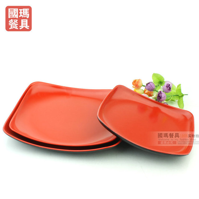 8INCH Japanese Style Imitation Porcelain Dinnerware Black Red Square Melamine Plates Dishes Christmas Plastic Cake Container  sc 1 st  AliExpress.com & 8INCH Japanese Style Imitation Porcelain Dinnerware Black Red Square ...