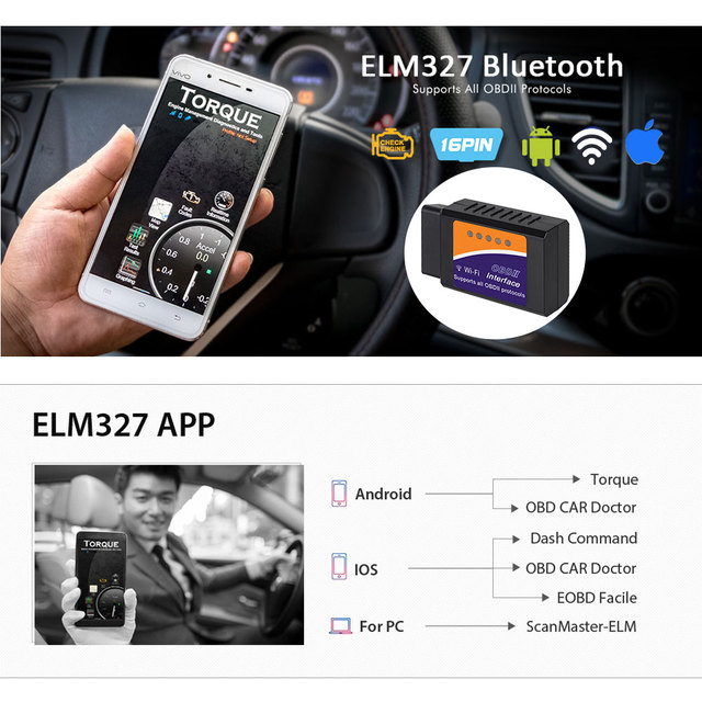 New Pack ELM327 V1.5 Bluetooth/WIFI with PIC18F25K80 Chip For Android IOS Diagnostic Tool ELM327 Bluetooth v1.5 OBD2 Scanner