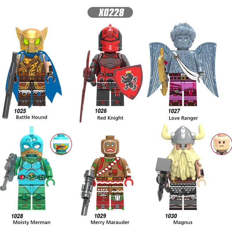 Single Sale LegoINGlys Super Heroes Fortnight Fortlegend Game Battle Hound Red Knight Love Ranger Moisty Merman Boys Toys X0228