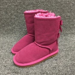 HOT Girls Australian Snow Boots 2-Bow Back 100% Genuine Cowhide Leather Short Boots Winter Kids Shoes Brand Ivg Size EU21-35