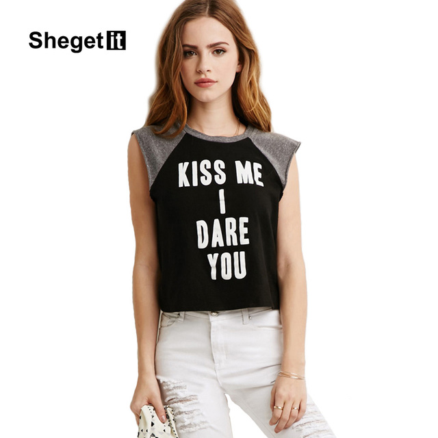 93e5c05621a7eb Shegetit women kiss me i dare you letter printed shirt new summer style  ladies tee black