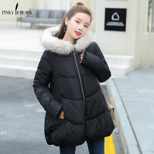 Pinky Is Black Women's Thick Warm Long Winter Jacket Women Parkas 2017 Faux Fur Collar Hooded Cotton Padded Winter Coat Female black fur hooded lace up thickened padded coat
