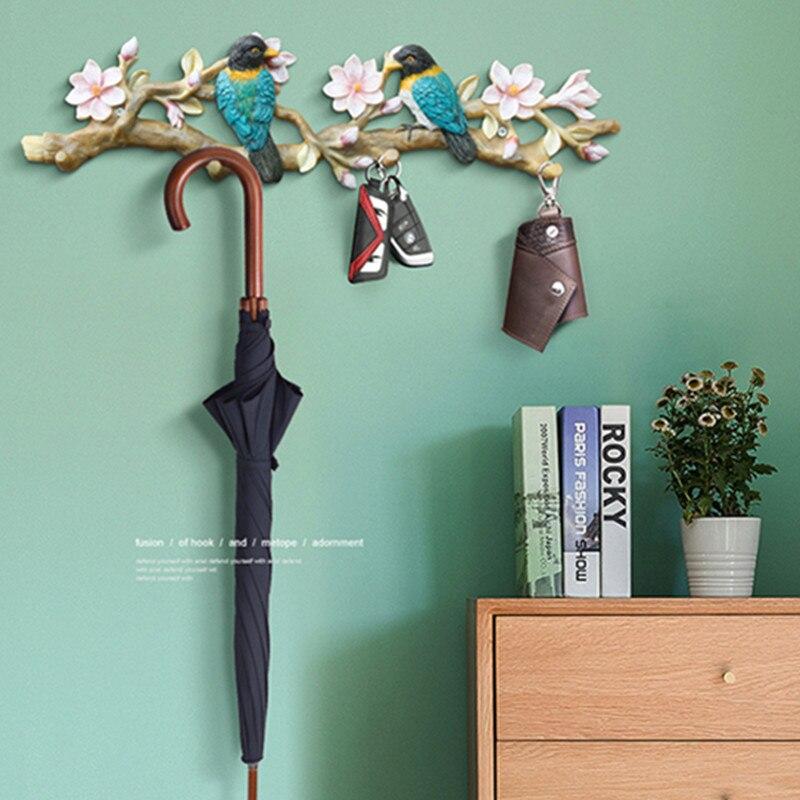 Crochet clé décoratif oiseau Style américain, artisanat en résine tenture murale, décoration murale cintre décoration murale R1261