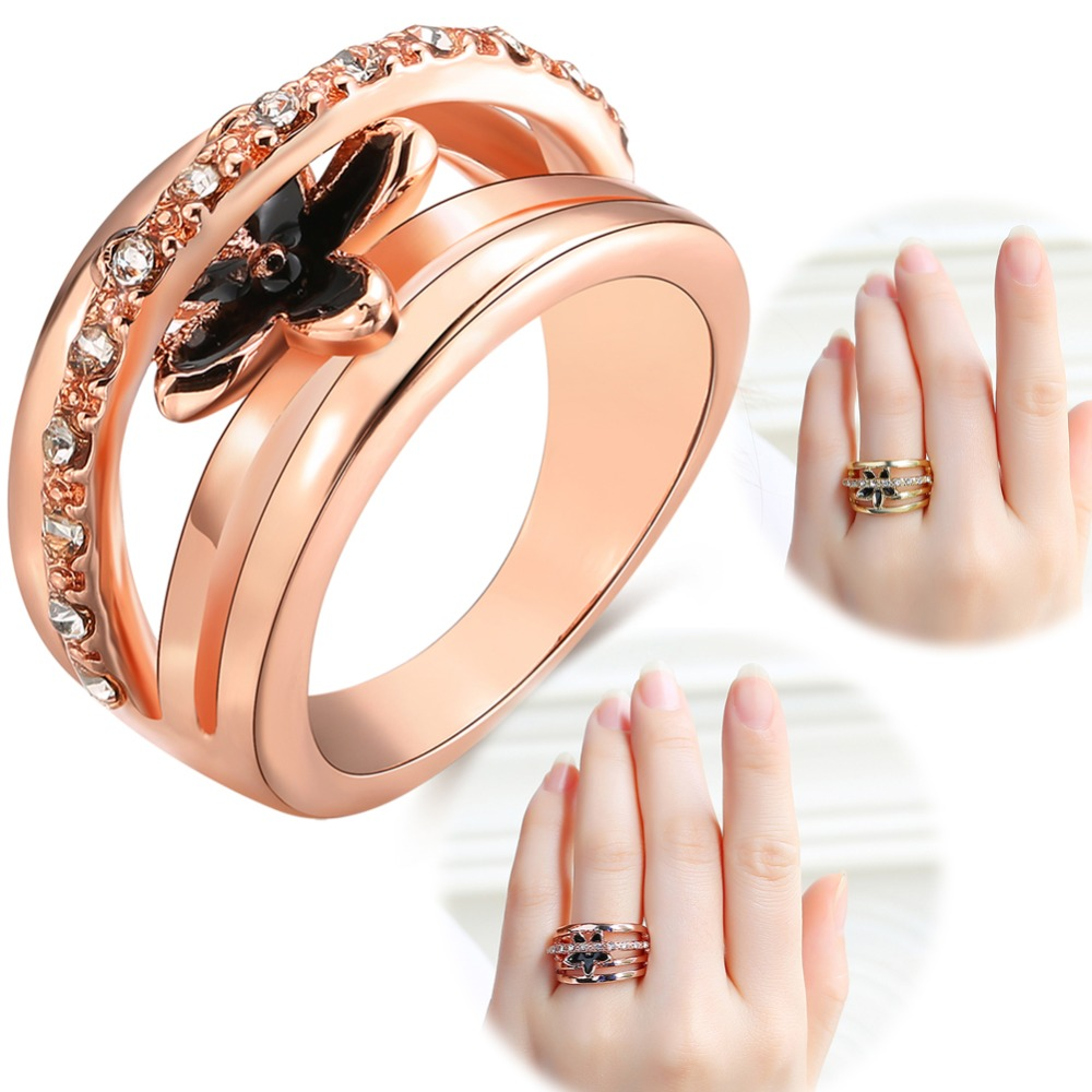 Crystal Jewelry Rose Gold Color Inlaid Rhinestone Ring Women Party