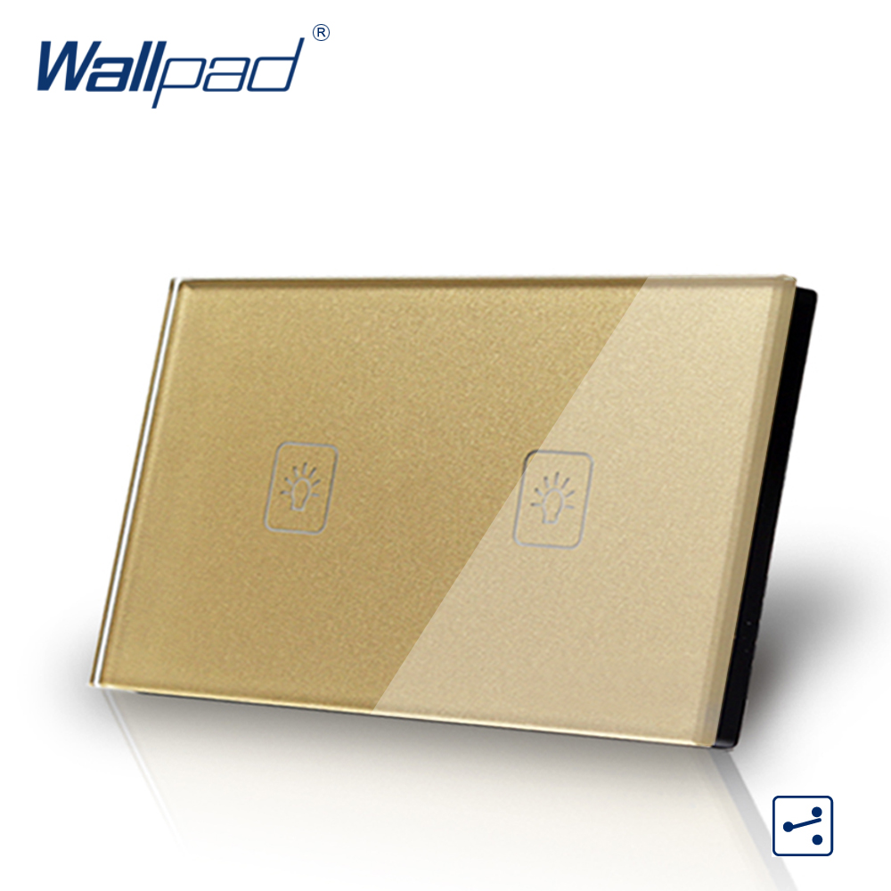 2 Gang 2 Way US/AU Standard Wallpad Touch Switch Touch Screen Light Switch Gold Crystal Glass Panel Free Shipping
