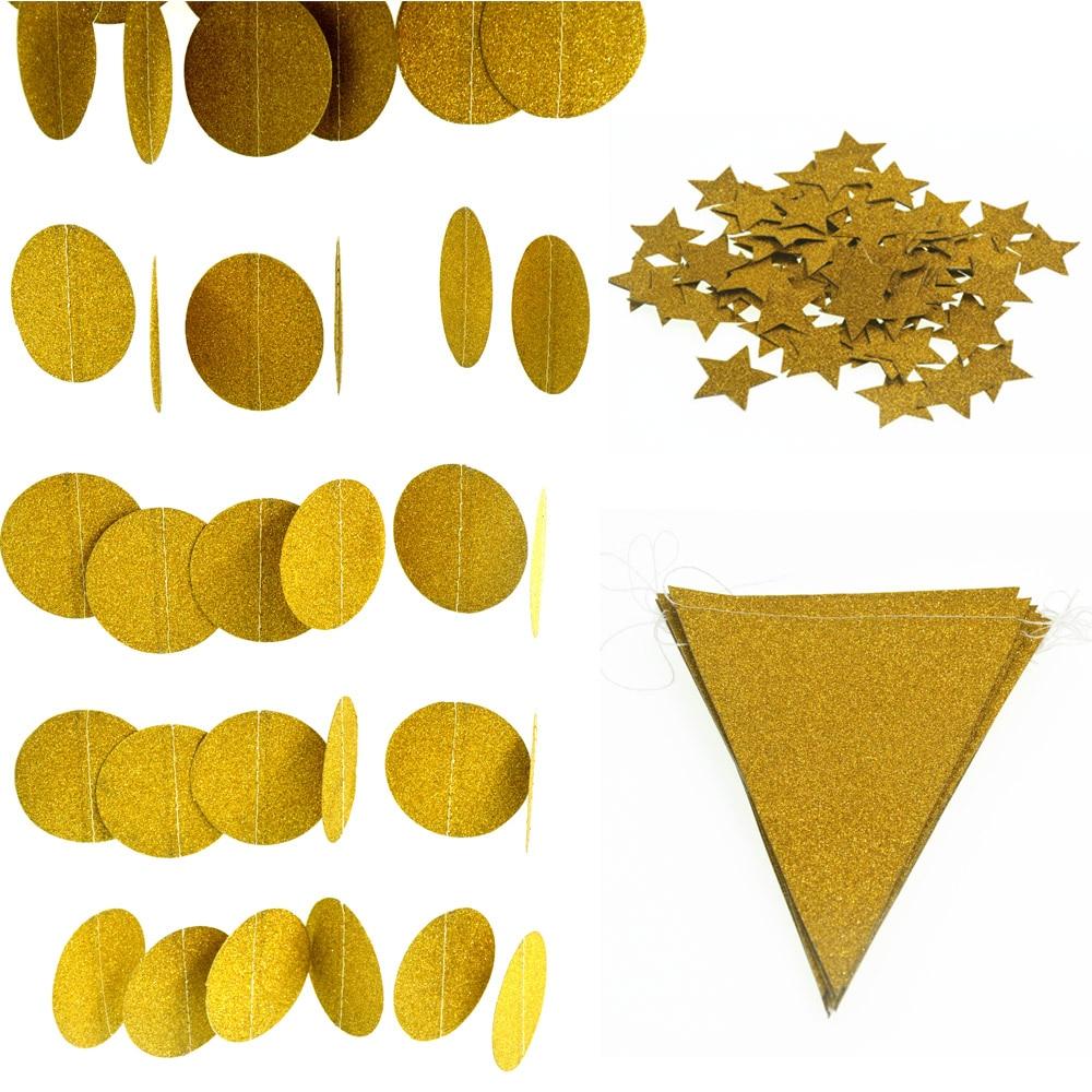 ניצוץ זהב נייר קונפטי חתונה קישוט דגל נייר גרלנד, סיבוב מעגל גרלנד, מקלחת צד באנרים קישוט הבית