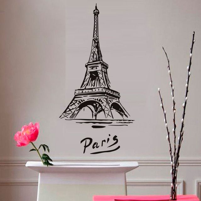 Eiffel Tower Vinyl Wall Sticker Romantic City Paris Adhesive Diy Art