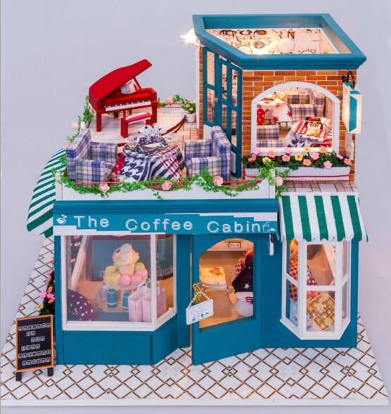 ФОТО DIY Wooden doll house toys  coffee cabin assembling building block miniatures for dollhouses with furniture light lover gift