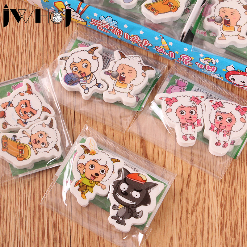 2 Pcs/lot  Animation Cartoon Sheep Eraser Kawaii Stationery School Office Supplies Correction Supplies Child's Toy Gifts