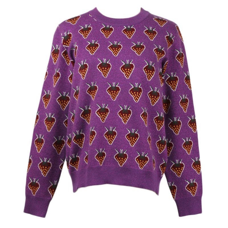 Winter Christmas Purple Sweater Pullovers Women Runway Designer Strawberry Print Female 2018 Fashion Sweater Jumper Clothing