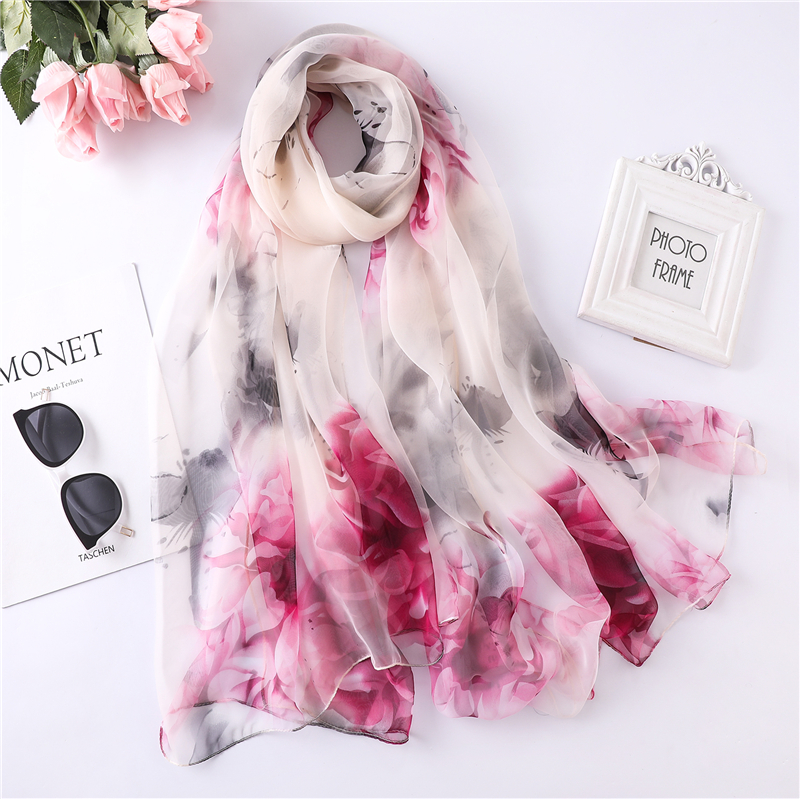 Elegant 2020 Women Scarf Summer Silk Shawls And Wraps Big Size Floral Print Pashmina Hijabs Lady Foulard Beach Stoles Scarves