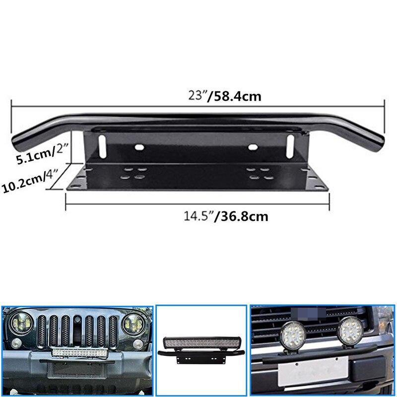 New Arrival Stainless Steel Bull Bar Type Car SUV Bumper License Plate Work font b Lamp
