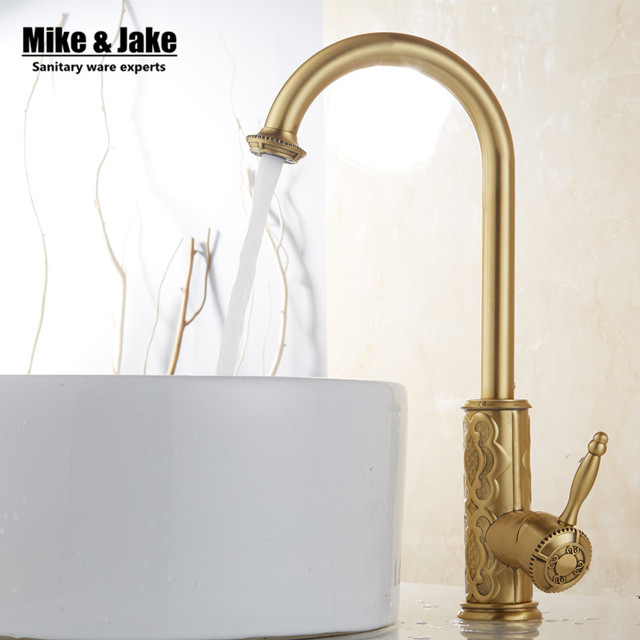 Whole Brass Antique Kitchen Faucet Vintage Kitchen Mixer Tap Brass Tap  Torneira Banheiro Basin Mixer Water