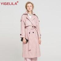 YIGELILA Latest 2019 Women Pink PU Trench Coat Fashion Turn Down Collar Double Breasted Belt Slim Long Coat 9677