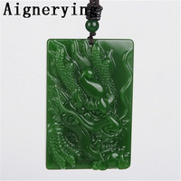 supply natural hand carved Certificate jade dragon necklace Men's/women's gift pendant with box craft