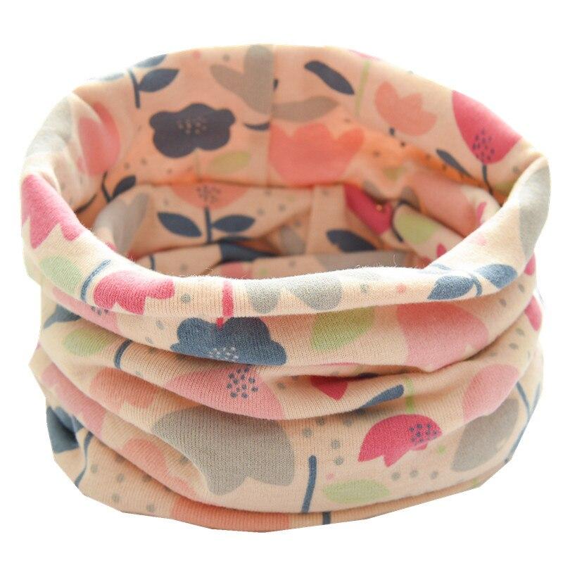 Осенне-зимний детский хлопковый плюшевый шарф, детский шарф для девочек, шарфы для мальчиков и девочек, детский воротник, детский волшебный шейный платок с круглым вырезом - Цвет: new beige flower