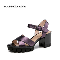BASSIRIANA Sandals Women 2017 Genuine Full Grain Leather High Heels Summer Shoes For Woman Free Shipping