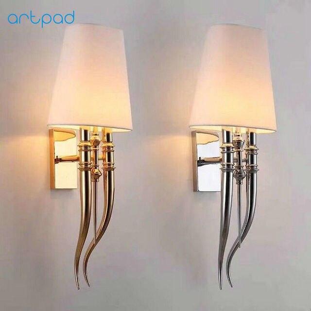 Post Modern Horn Silver Gold Wall Lamp Bedside Corridor Living Room