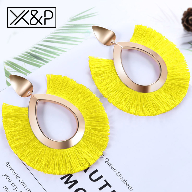 X&P Bohemian Big Tassel Drop Earrings For Women Lady Female Fringe Handmade Brincos Statement Fashion Woman Earring 2018 Jewelry 3