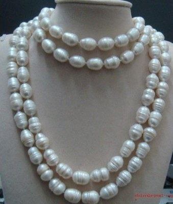 EXQUISITE A+ WHITE BAROQUE NATURAL PEARL NECKLACE 50inch / Cheap  Shipping 1PCS