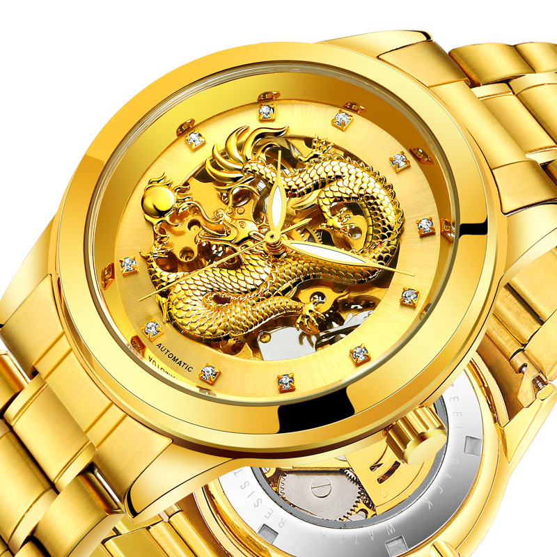 Mens Gold Dragon Push Button Hidden Clasp Stainless Steel Automatic Self-Wind Mechanical Movement Watch Luminous Male Wristwatch polar equine h7 heart rate sensor belt set