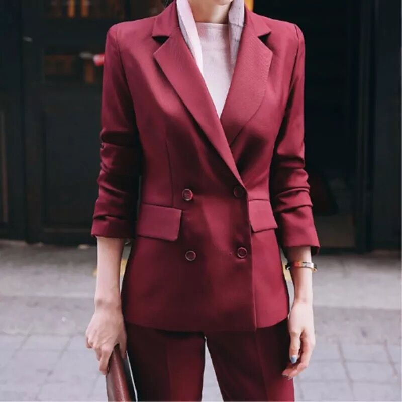 Professional Woman Pants Suit Pure Color Business Formal Slim Long Sleeve Blazer with Trousers Office Ladies OL Uniform Designs
